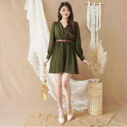 Baju Dress Pendek Polos Cantik Lengan Panjang