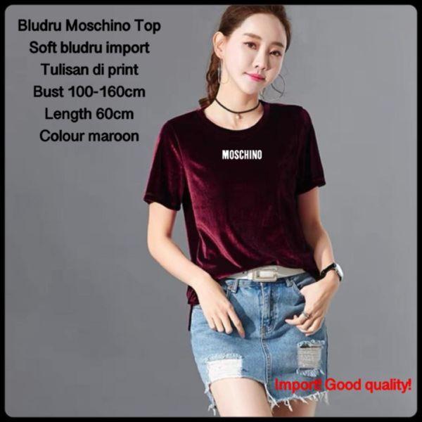 Baju Kaos Lengan Pendek Wanita Bahan Bludru