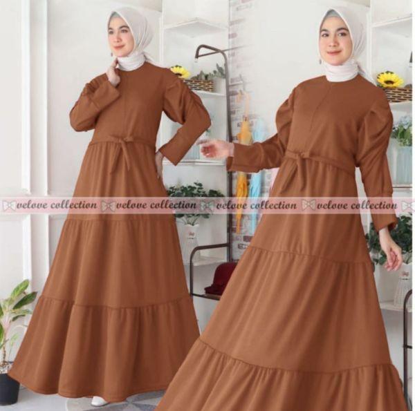 Baju Maxy Gamis Long Dress Model Lengan Puff