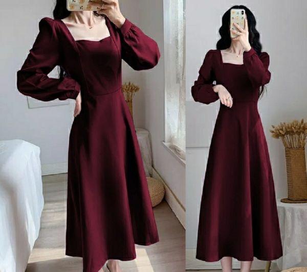 Baju Midi Dress Lengan Panjang Cantik & Anggun