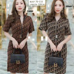 Baju Mini Dress Pendek Motif Bahan Knit Import