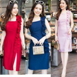 Baju Mini Dress Pendek Span Belah Samping Cantik