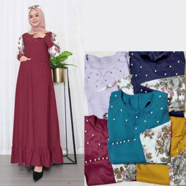 Model Baju Gamis Maxy Aplikasi Mutiara Cantik