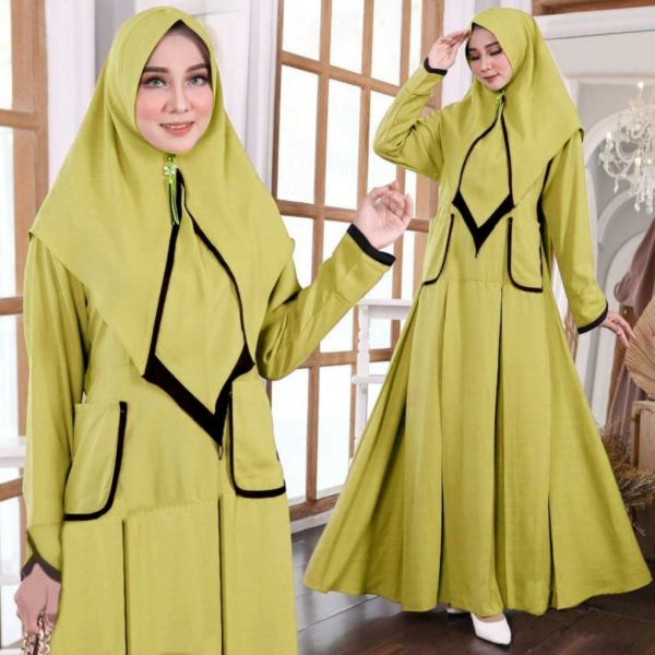 Model Setelan Baju Gamis Syari Busui Cantik