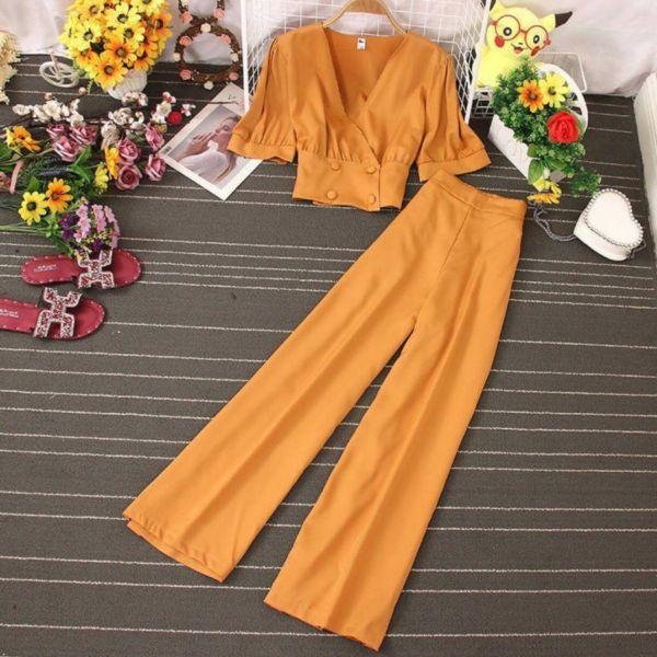 Setelan Baju Crop Pendek dan Celana Panjang Modis