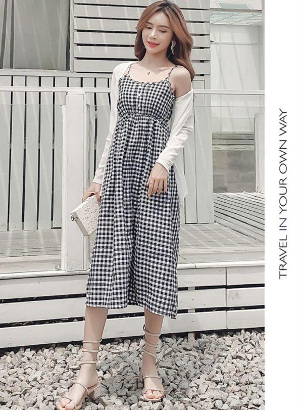 Setelan Baju Dress Kotak dan Cardigan Polos Modern