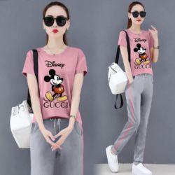 Setelan Baju Kaos Mickey & Celana Panjang Wanita