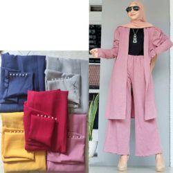 Setelan Baju Outer Long Cardigan dan Celana Panjang