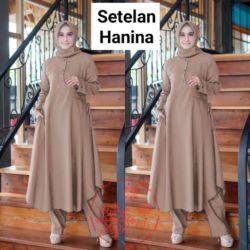 Setelan Pakaian Muslim Tunik dan Celana Panjang Wanita