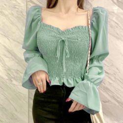 Baju Atasan Crop Wanita Full Karet Lengan Panjang