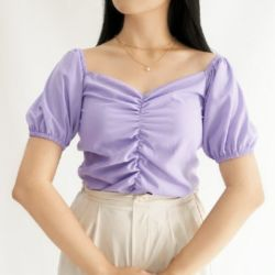 Baju Atasan Wanita Korean Crop Top Puff Pendek