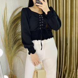 Baju Atasan Wanita Lengan Panjang Crop Top