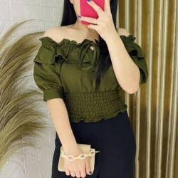 Baju Atasan Wanita Model Sabrina Lengan Pendek