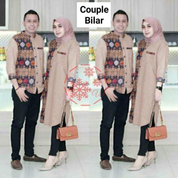 Baju Couple Tunik dan Kemeja Kombinasi Batik Modern