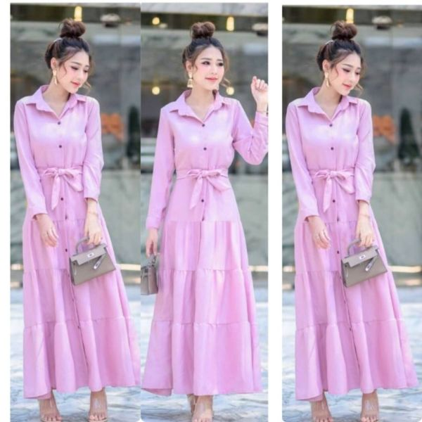Baju Gamis Maxy Long Dress Polos Modern