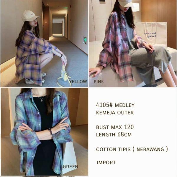 Baju Kemeja Outer Wanita Gaya Korea Motif Kotak