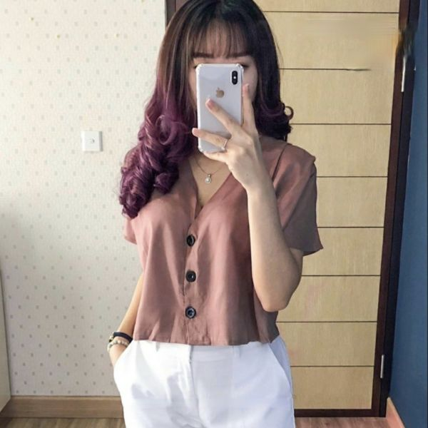 Baju Kemeja Wanita Lengan Pendek Model Crop