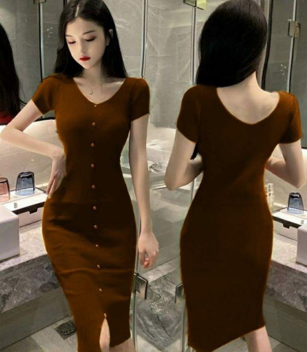 Baju Mini Dress Pendek Kancing Bahan Rajut