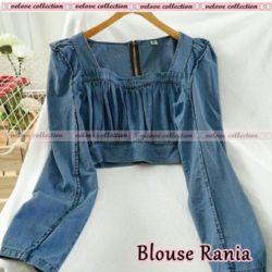 Model Baju Atasan Crop Top Denim Lengan Panjang