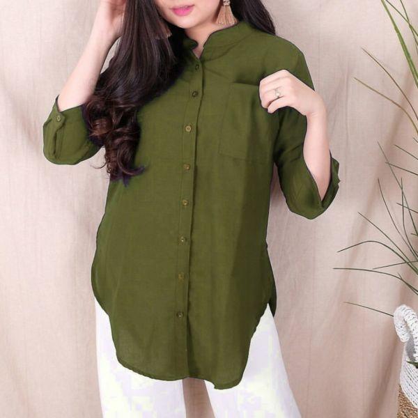 Model Baju Tunik Pocket Saku Full Kancing Terbaru