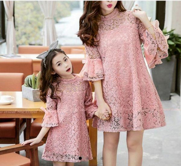 Baju Couple Dress Brukat Ibu dan Anak Perempuan