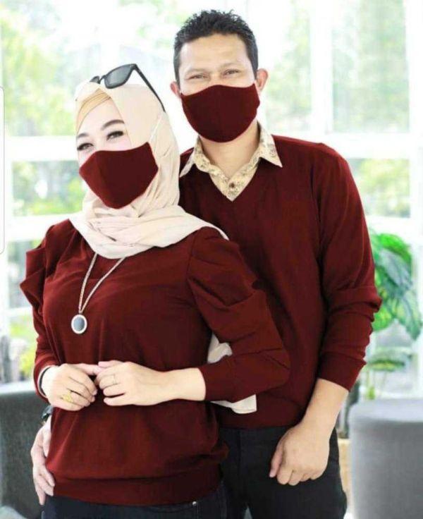 Baju Couple Kaos & Masker Pasangan Lengan Panjang