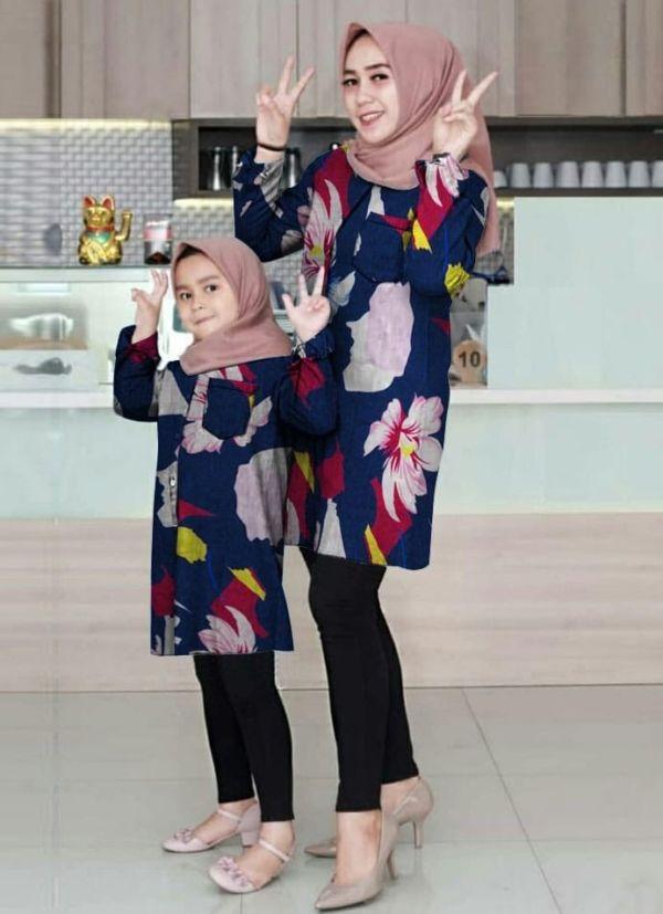 Baju Couple Tunik Motif Kembaran Ibu dan Anak