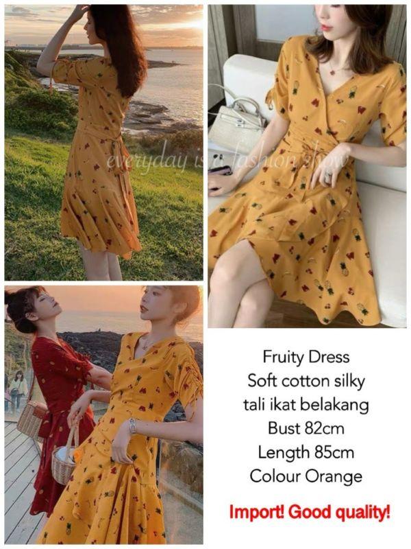 Baju Dress Pendek Motif Fruity Gaya Korea