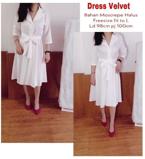 Baju Dress Putih Dewasa Polos Cantik Model Terbaru