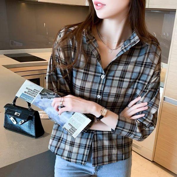 Baju Kemeja Flanel Wanita Motif Kotak Modern