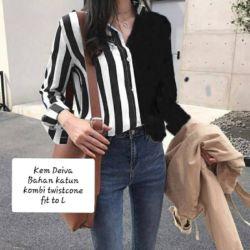 Baju Kemeja Wanita Kombinasi Motif Salur Terbaru