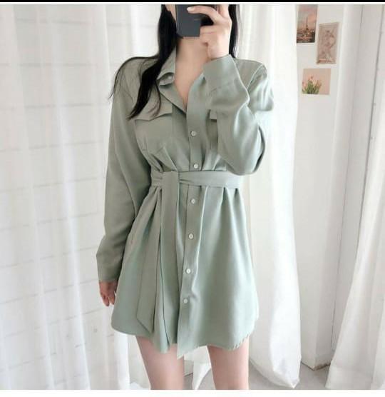 Baju Kemeja Wanita Korean Style Long Hem Modis