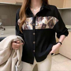 Baju Kemeja Wanita Printing Model Korea Terbaru