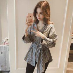 Baju Wanita Korean Top Lengan Panjang Motif Belang