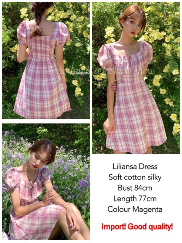 Dress Korea Cantik Motif Bahan Cotton Silky