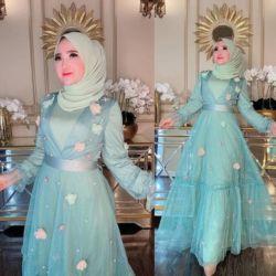 Model Baju Gamis Pesta Tille Bunga Cantik Terbaru