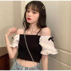Baju Atasan Remaja Knit Crop Top Masa Kini