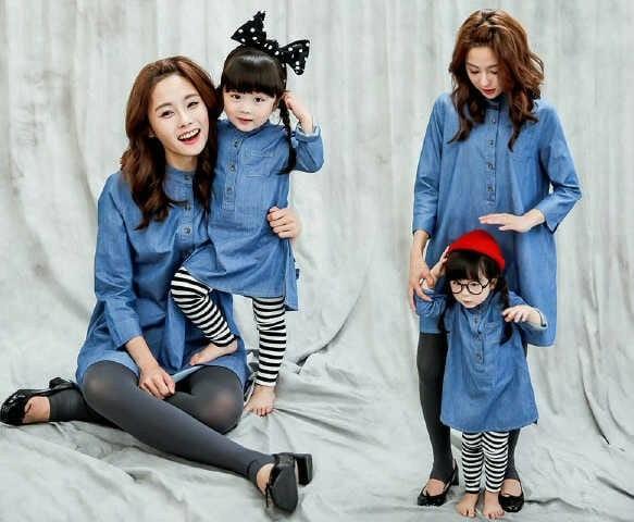 Baju Couple Tunik Katun Denim Ibu dan Anak