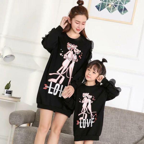 Baju Dress Couple Ibu dan Anak Perempuan Modern
