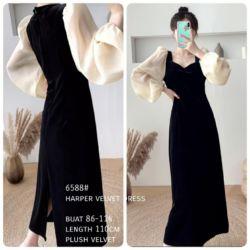 Baju Midi Dress Velvet Trend Jaman Sekarang