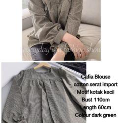 Cafia Blouse Wanita Motif Kotak Model Terbaru