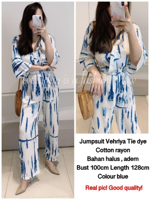 Model Baju Jumpsuit Cantik Motif Tie Dye