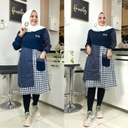 Model Baju Tunik Kombinasi Dua Motif Terbaru