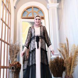 Model Gamis Brukat Kombinasi Tile Long Cardigan