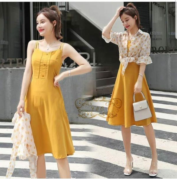 Set Dress Pendek Dewasa Gaya Korea Modern