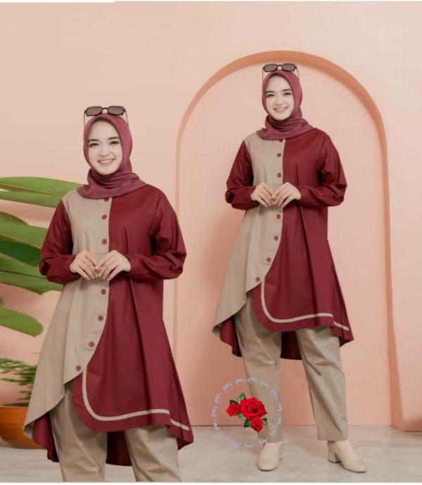 Setelan Tunik Kombinasi Warna dan Celana Panjang