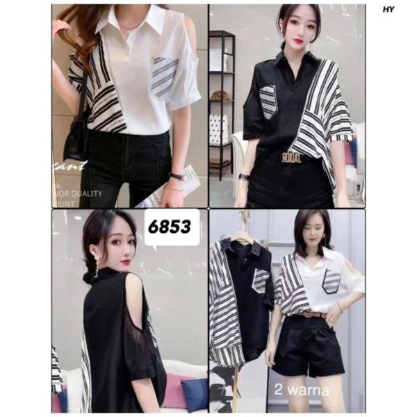 Baju Atasan Wanita Bahu Bolong Monochrome