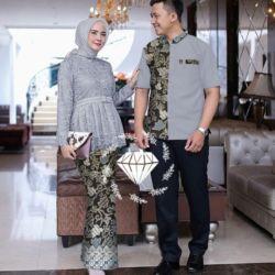 Baju Couple Setelan Kebaya dan Kemeja Pendek
