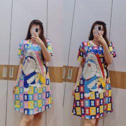 Baju Daster Pendek Home Dress Gambar Doraemon