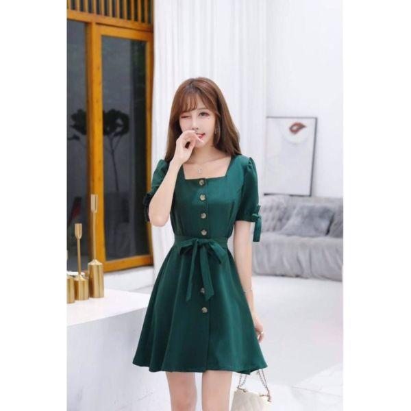 Baju Dress Kancing Lengan Pendek Modern